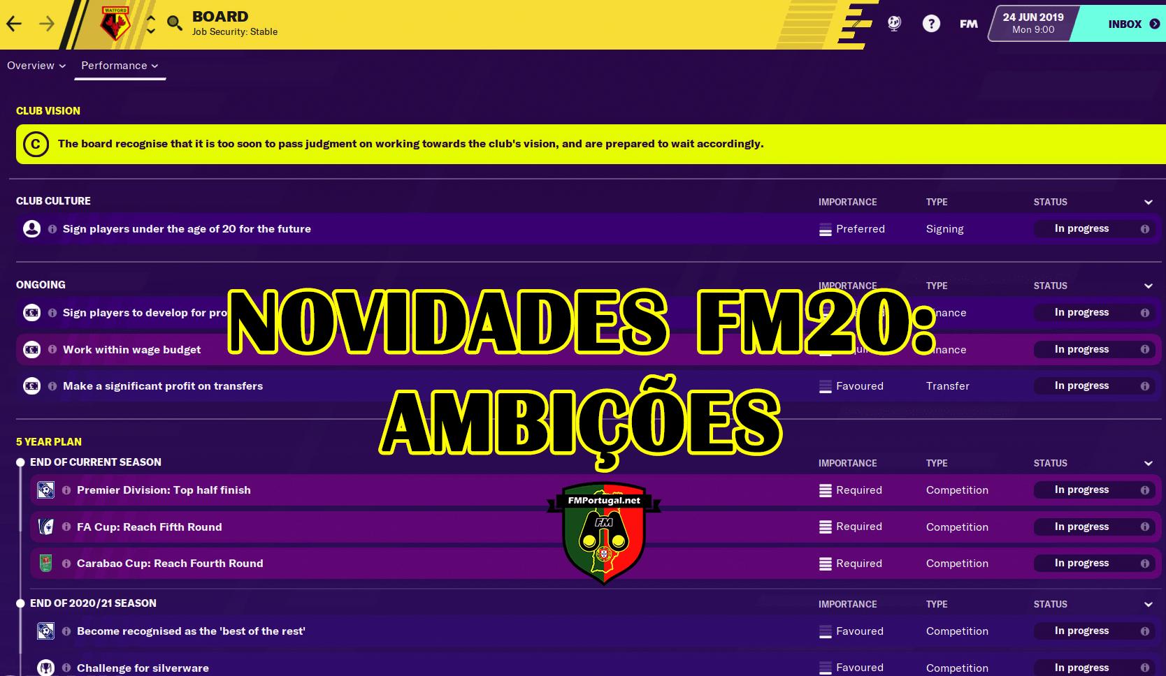 Novidades FM20: Ambições do clube